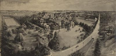 Aerial view of campus; Received 1969, December 8 from Thomas D. Boyd