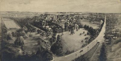 Aerial view of the State University of Kentucky campus including Old Football Field and a city trolley
