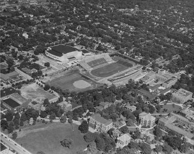 Aerial view showing McLean Stadium (Stoll Field), and Memorial Coliseum among other structures