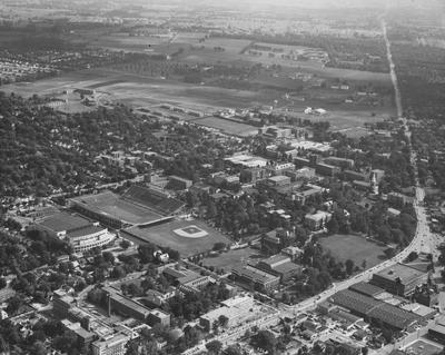 The University of Kentucky had a rural look in 1957 when the South Farm was adjacent to the campus; Photograph by Courier - Journal and Louisville Times