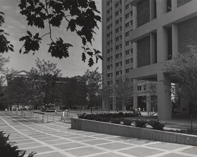 Fountain in front of Patterson Office Tower which was destroyed circa 1999; Administration Building (left) and White Hall Classroom Building (right) are also visible