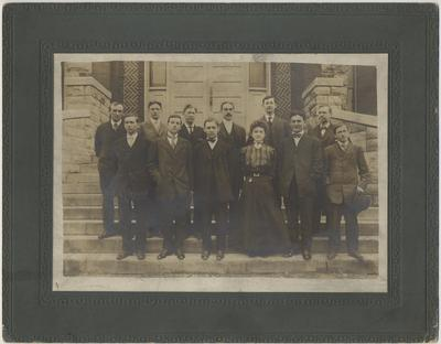 Students of Short Course in Agriculture; Included are: Fred Stubert Lloyd, Robert Murray Hagan, M. Raymond Burton, Ralph Dulton Karsner, John H. Richardson, J. T. Rigsby, Dr. James A. McKee, Frederic Larence Winstel; Received 1948, August 10 from Dr. Funkhouser's Office