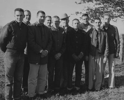 From left to right: William Glenn Luce, Robert Bennett, Gene Cravens, Oliver Deaton, Bill Cisney, Russell Bingham, Robert Berry, Bob Garrigus, Charles Gray, and Bob Wade