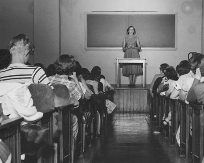 A woman teaching a class; Image used at the 1951 State Fair