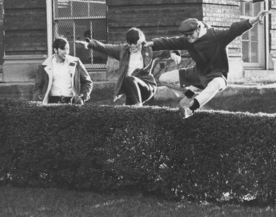 Architecture students outside Pence Hall; This image is in the 1969 Kentuckian on page 395, image number 2