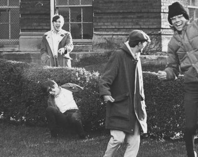 Architecture students outside Pence Hall; This image is in the 1969 Kentuckian on page 395, image number 3