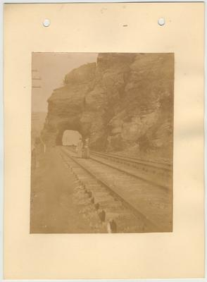 Two women standing on railroad tracks on the Harper's Ferry Excursion