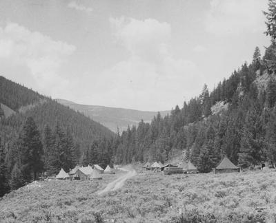 This campsite in 1951 was located in a ravine near Crested Butte
