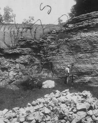 Man examines a rock cliff