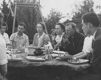 Pi Mu Epsilon Picnic; From left to right: Ragland (facing front), Eaves, Miss Mary Hester Cooper, Pence (in background), Snyder, Downing, Boyd?, Unidentified