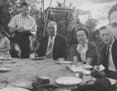 Pi Mu Epsilon Picnic; From left to right: Cooper (in background), Eaves, Brown, Snyder, and Downing; Photographer: Dr. Claiborne G. Latimer