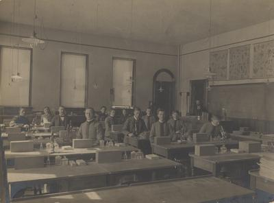 Students sitting in a Botany laboratory; Donated 1948, July 29 by T. R. Bryant