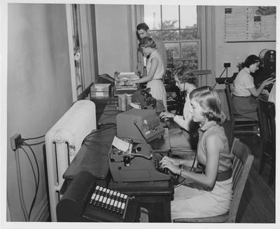 Women in a typing class