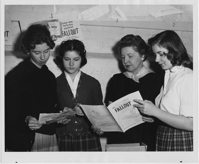 Women study about bomb shelters