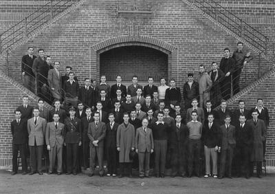 American Society of Mechanical Engineers, University of Kentucky student branch; From left to right, Row 1: Rogers, Spears, Duban, Cardwell, Bowling, Neel, Denny, Jackson, Professor Jett, Kalb, Sawyer, Moore, R. J. Calvert, Warner, Fischer, and Foley; Row 2: Spragens, Hall, Survant, Cavise, Albert, Atkins, Weller, Robinson, Carson, Cornett, Drake, Spicer, Penna, Berry, Cundiff, C. S. Calvert, and Blythe; Row 3: McNamer, Campbell, Price, Rice, Mitchell, Watts; Row 4: Pearson, Patterson, Hale, Huddle, Bickel, Shreck, Curtis, Nichols, Boone, Roysdon, Bass, Eschborn, Smith, Danis, Helton, Grumwald, Fielder, Dixon, and Mahan; This image is on page 163 of the 1941 Kentuckian