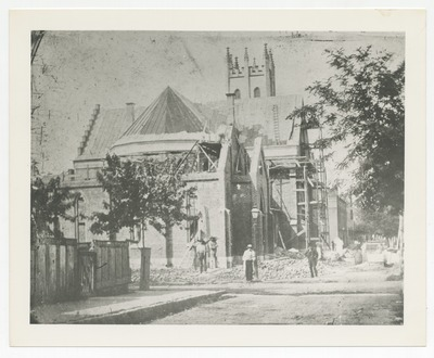 Northwest corner of Upper Street at Church Street, building an addition onto the rear of Christ Episcopal Church