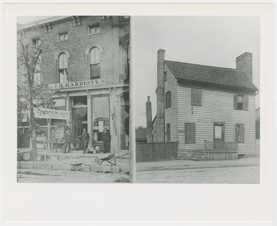 [Right (a)] One of the first homes in Lexington - owned by the Geohagans; [Left (b)] J.H. Hardesty Store - sold various sundries as indicated by the signs