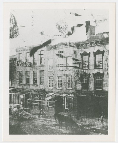 Tintype of City National Bank, Berkley and Murphy Offices, Union and Harrison House, and Apostolic Times News and Job Printing Office