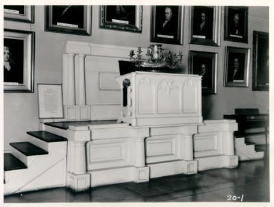 Old State House, Rostrum in the Senate; designed or constructed in 1830 by Gideon Shyrock