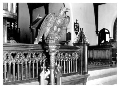 St. Paul's Episcopal Church, detail of Chancel rail and lectern; designed or constructed in 1858