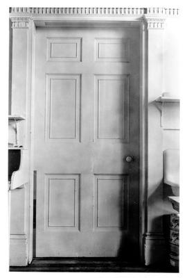 Elmwood Hall, detail of door (Reception Hall); designed or constructed in 1818 by Benjamin Latrobe