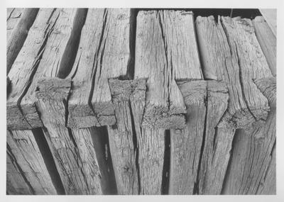 Hike's Place, corner detail of log outbuilding