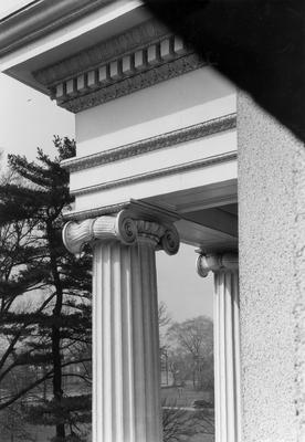 Kentucky School for the Blind, detail of portico cornice and column cap; designed or constructed in 1855 by F. Costigan