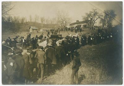 The funeral procession following the remains of Judge James Hargis to his boyhood home, The Panbowl