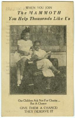 Unidentfied African American female and unidentified African American female child in an advertisement for Mammoth Life and Accident Insurance Company, Louisville, Kentucky