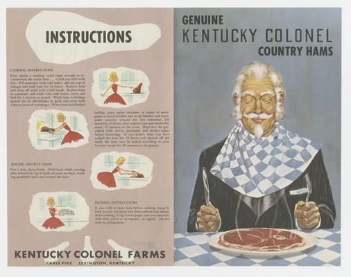 Genuine Kentucky Colonel Country Hams, man sitting down to eat a ham, Joyland Park; advertisement pamphlet