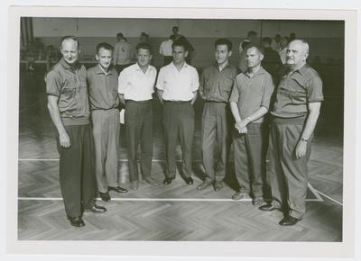 USAREUR (U.S. Army Europe) Coaches Clinic; Adolph Rupp and Charles K. Orsborn with Dutch guests