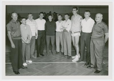 USAREUR (U.S. Army Europe) Coaches Clinic; Adolph Rupp and Charles K. Orsborn with Belgian guests