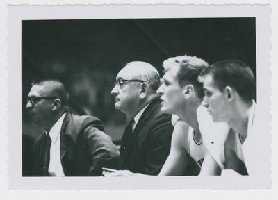 Harry Lancaster, Adolph Rupp, Cotton Nash, and Charles Ishmael