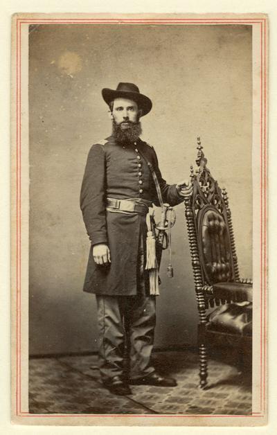 1st Lieutenant James McDermott (?-?), U.S.A., 4th Kentucky Mounted Infantry, Company I; written on back in ink: Lt McDermott / Co. 'I' 4th KY Inft. (M. J. Dennis, Cincinnati, OH)