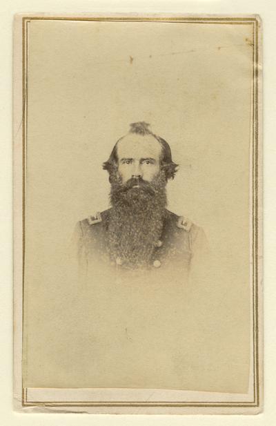 Lieutenant Colonel Milton Graham (?-?), U.S.A., 11th Kentucky Cavalry, Company F, S; written on back in pencil: Col. Milton Graham / 11th Ky. Cav. ([no information])
