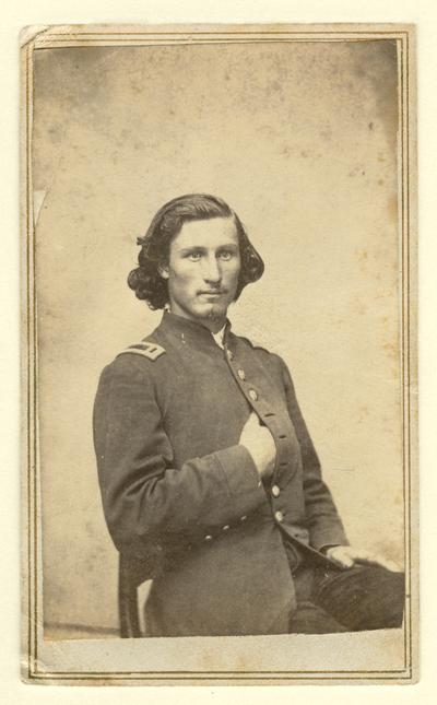 Unidentified Union officer, 1st Lieutenant shoulder boards are visible on uniform (Alcan & Corbutt, Louisville, KY)