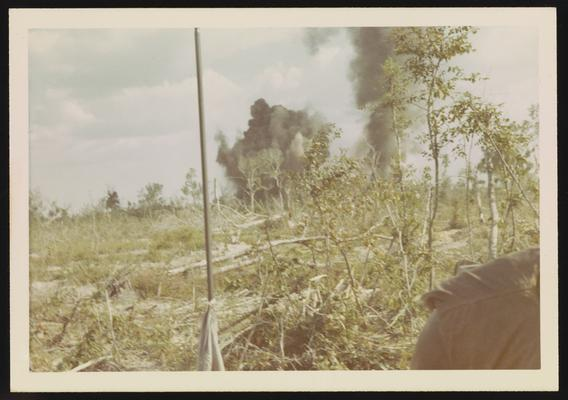 Bomb smoke and remains of jungle after the use of agent orange