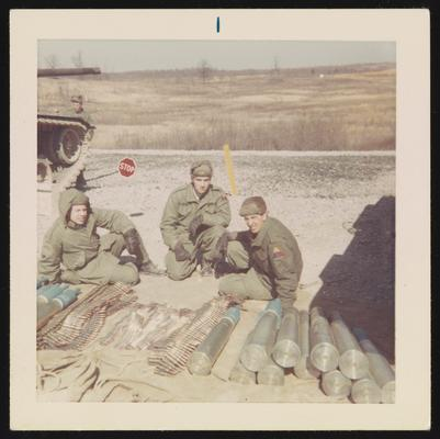 Fort Knox ammunition training - from left Larry Knippel, Mark Cosgrove, Thomas Kubeck