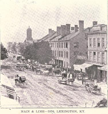 Main & Lime-1859 Lexington, KY many horses and carriages on the street