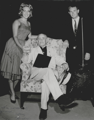 Performance by John Jacob Niles at Pioneer Playhouse; Danville, KY; Left to Right: Sandra Norvell, John Jacob Niles, and Dan Brock Jr., Charles A. Thomas