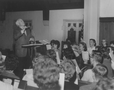 Conducting choir at Baker University; Baldwin, Kansas