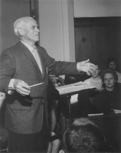 Conducting choir at Baker University; Baldwin, Kansas