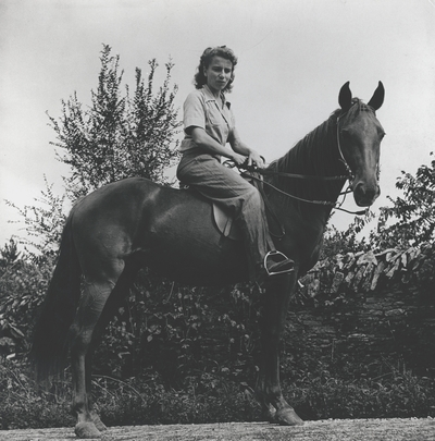 Rena Niles on a Tennessee Walking horse; Boot Hill Farm;