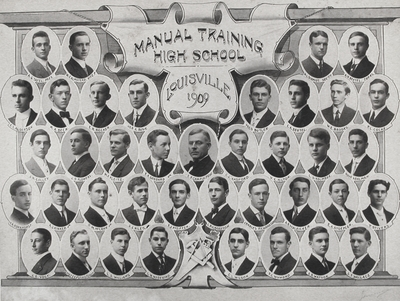 John Jacob Niles (4th row, 4th from left) with members of 1909 Manual Training High School graduating class; Louisville, KY