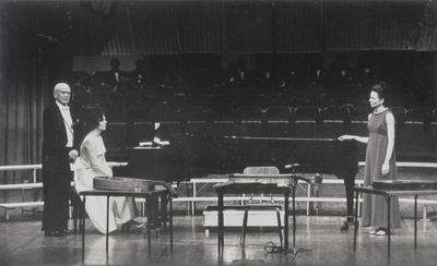 Performance of Niles-Merton Song Cycle Tour with Transylvania University Choir; Left to Right: Donald Prindle, Jacqueline Roberts, Janelle Pope, and John Jacob Niles; Jack Cobb