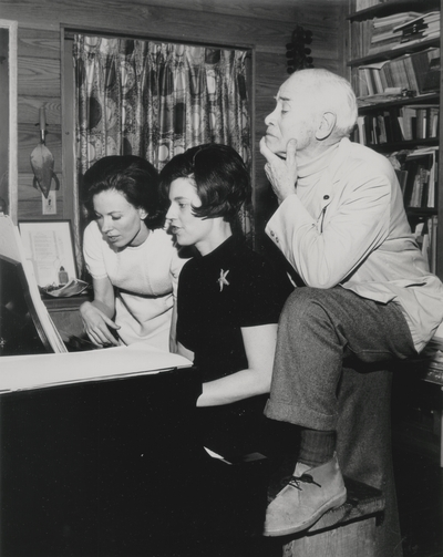 Rehearsal at Boot Hill Farm; Left to Right: Jacqueline Roberts, Janelle Pope, and John Jacob Niles