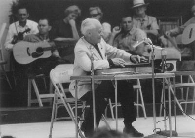 Performance by John Jacob Niles at Outdoor Folk Festival; Cincinnati, Ohio; Grauman Marks