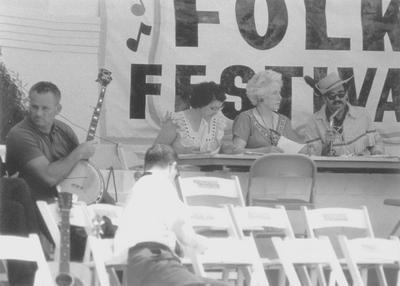 Announcers at Outdoor Folk Festival; Cincinnati, Ohio; Grauman Marks