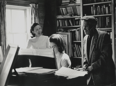 Rehearsal at Boot Hill Farm; Left to Right: Jacqueline Roberts, Janelle Pope, and John Jacob Niles; Helm Roberts
