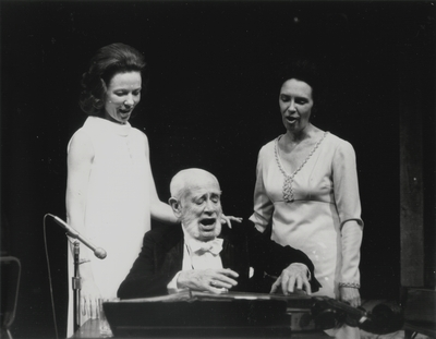 Performance by John Jacob Niles (center) with Jacqueline Roberts (left) and Janelle Pope; Helm Roberts